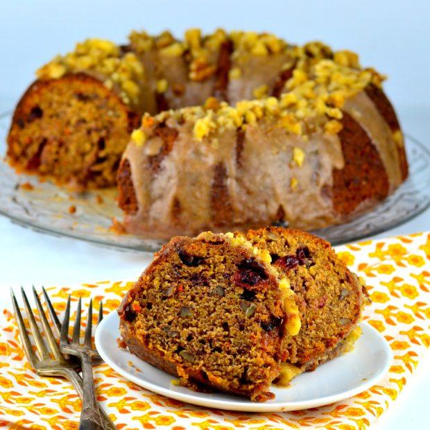 Vegan Carrot Cake - half the fat, all the flavor #vegan #kosher #vegetarian #thanksgiving #carrot #cake #icing #dessert #holidays #parve #dairyFree #GO Veggie!