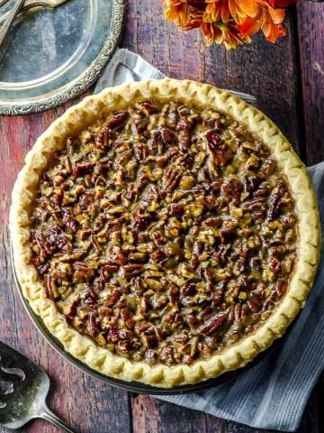 Bird's eye view of a vegan pecan pie