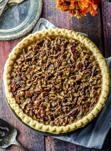 Bird's eye view of a vegan pecan pie