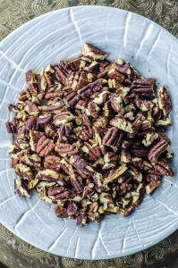 a plate of pecans