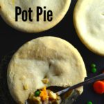 Vegan Pot Pie - e Easy & Quick Vegan pot pies with rainbow carrots and white wine topped with a comforting olive oil crust. Just perfect! #Vegan #PotPie #thanksgiving #Vegetarian #Fall #wine #oliveOil #Entree