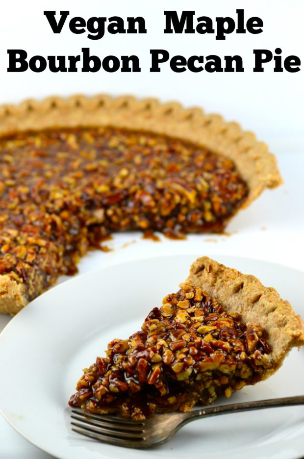 Vegan Bourbon Pecan Pie - Probably the most expensive pie we ever made #vegan #pecans #maple #syrup #kosher #vegetarian #Thanksgiving #fall #secret ingredient