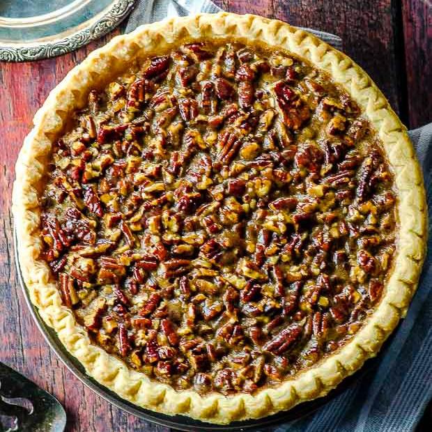 Bird's eye view of a full vegan pecan pie