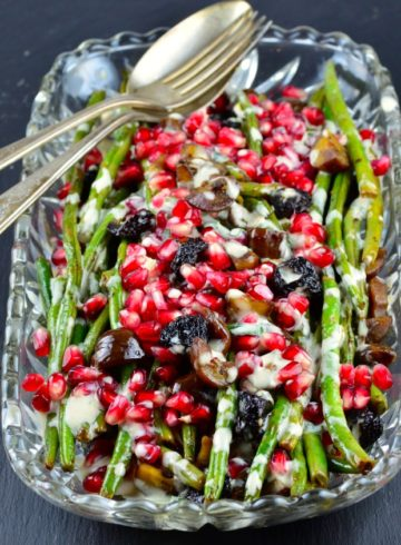 Warm Green Beans With Chestnuts, Pomegranates & Lemony Tahini