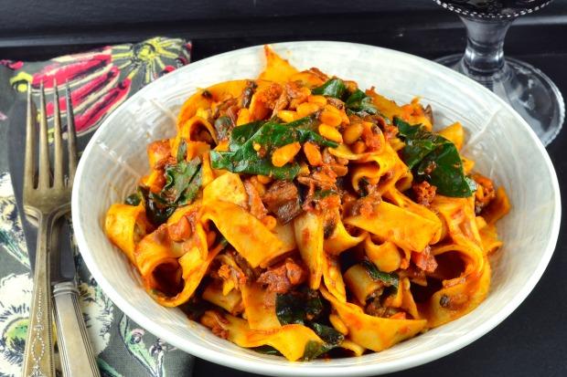 Mushroom Ragu & Swiss Chard Tagilatelle - Delicious vegan entree #vegan #vegetarian #entree #mushrooms #pasta #swiss chard