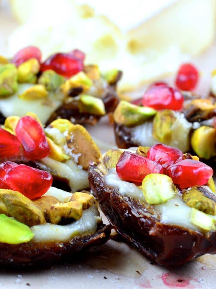 Dates Stuffed with Warm Brie Pistachios & Pomegranates - #appetizer #Brie #dates #vegetarian #pistachios #pomegranates