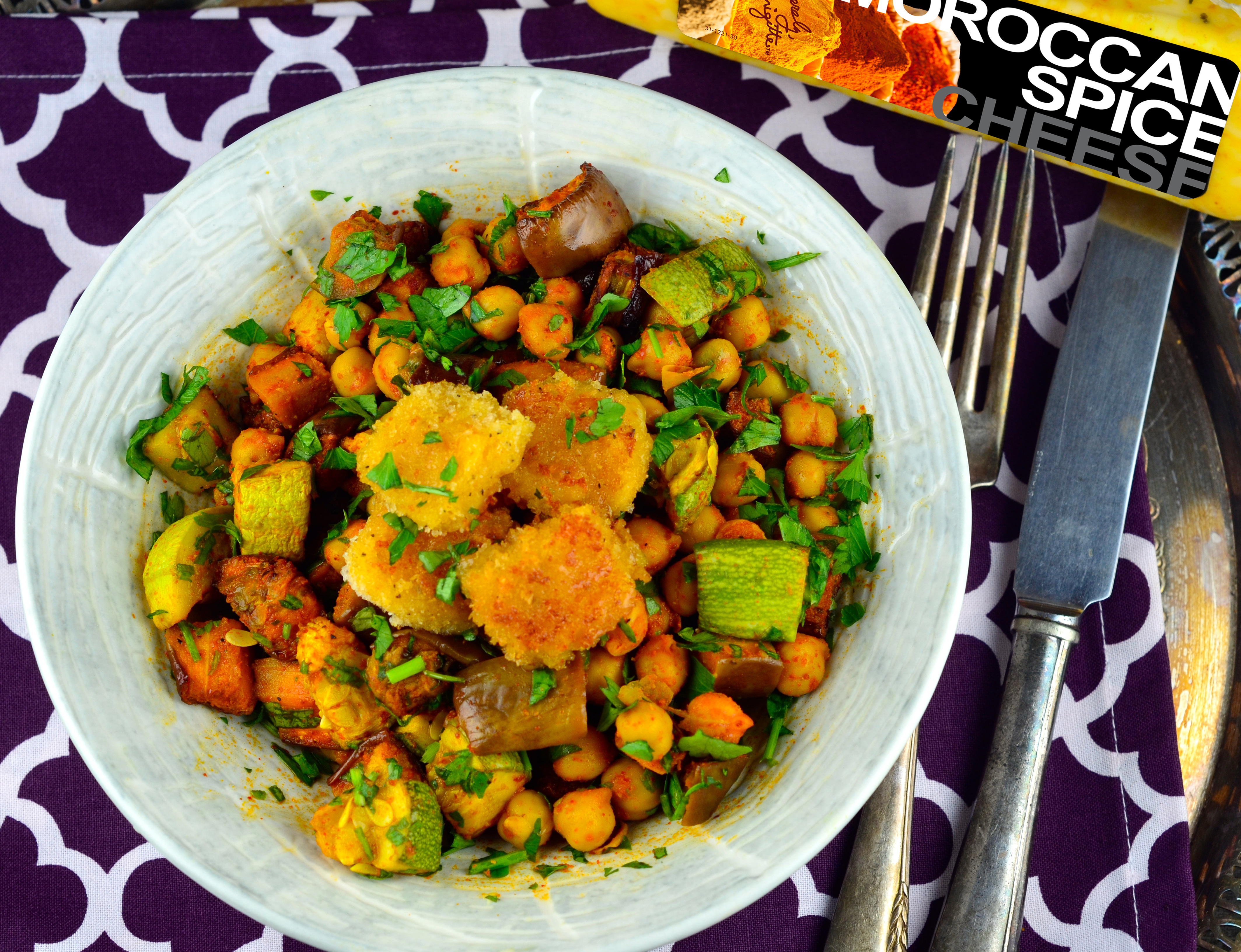 "Roasted Vegetables With Fried Moroccan Spice Cheese ""Croutons"""