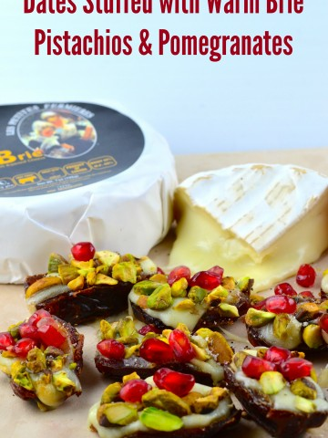 8 Medjool Dates cut in half and Stuffed with Warm Brie and topped with Pistachios & Pomegranates