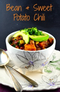 3 bean sweet potato chili - #chili, #vegetarian #vegan #glutenfree #bean #dinner, #superbowl #footbal #recipe #kosher