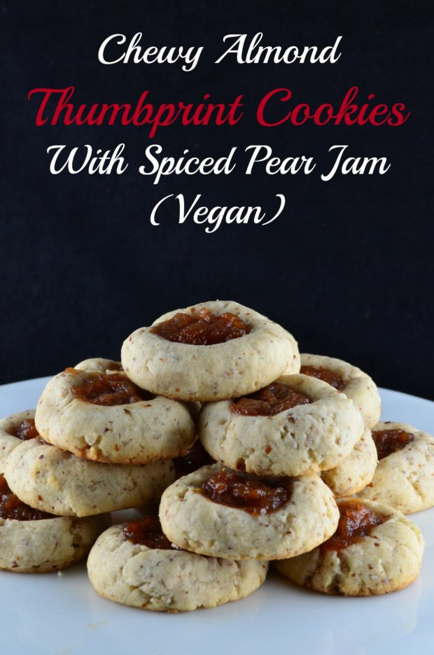 Thumbprint cookies with spiced pear jam (vegan) - #cookies #pear #thumbprint #vegan #kosher #holidays #hanukkah