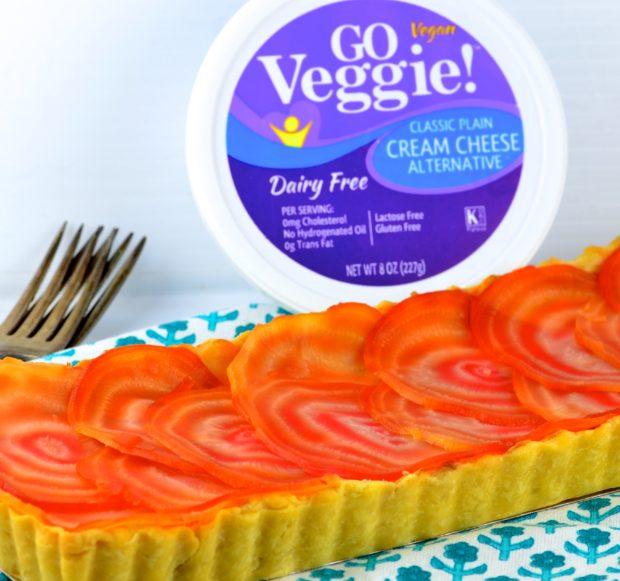 Vegan Cream Cheese and Beet Tart #vegan #tart #beet #cream cheese #goVeggie #vegetarian #appetizer
