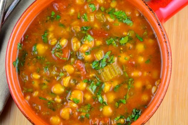 spiced chickpea soup #Chickpeas, #garbanzo, #soup #vegan #vegetarian #turmeric #Cumin #cilantro