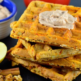 Vegan Morning Glory waffles. #vegan #goVeggie #waffles #breakfast #kosher #apples #carrots