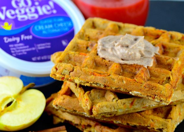 Vegan Morning Glory waffles. #vegan #goVeggie #waffles #breakfast #kosher #apples #carrots