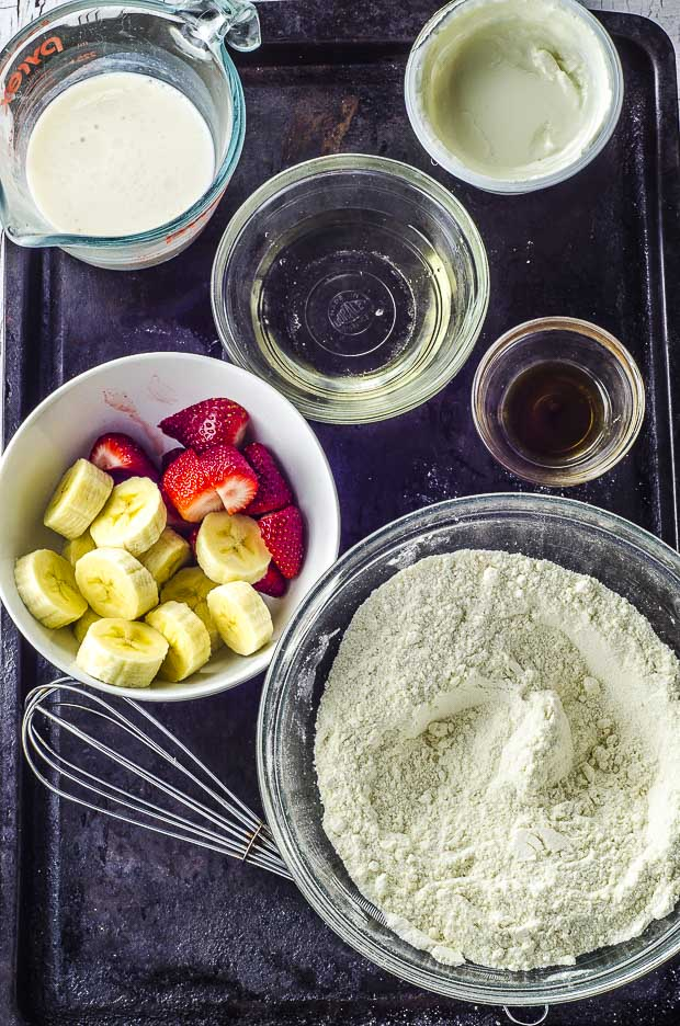 Overhead view of the ingredients to make strawberry muffins