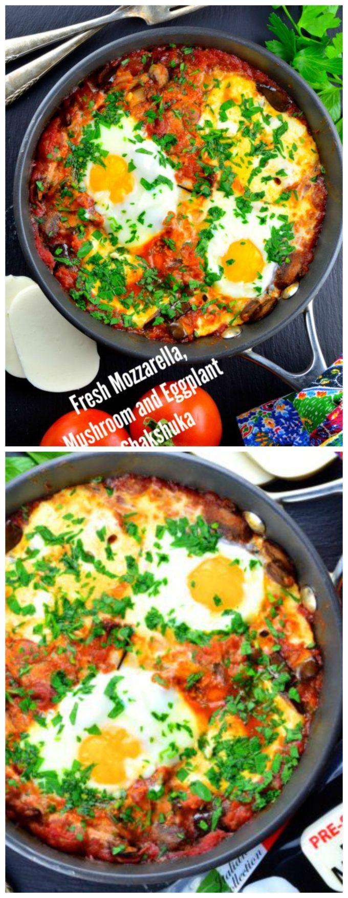 Fresh Mozzarella, Mushroom and Eggplant Shakshuka . Great vegetarian breakfast recipe for Passover and all year long. I eat it for dinner too!