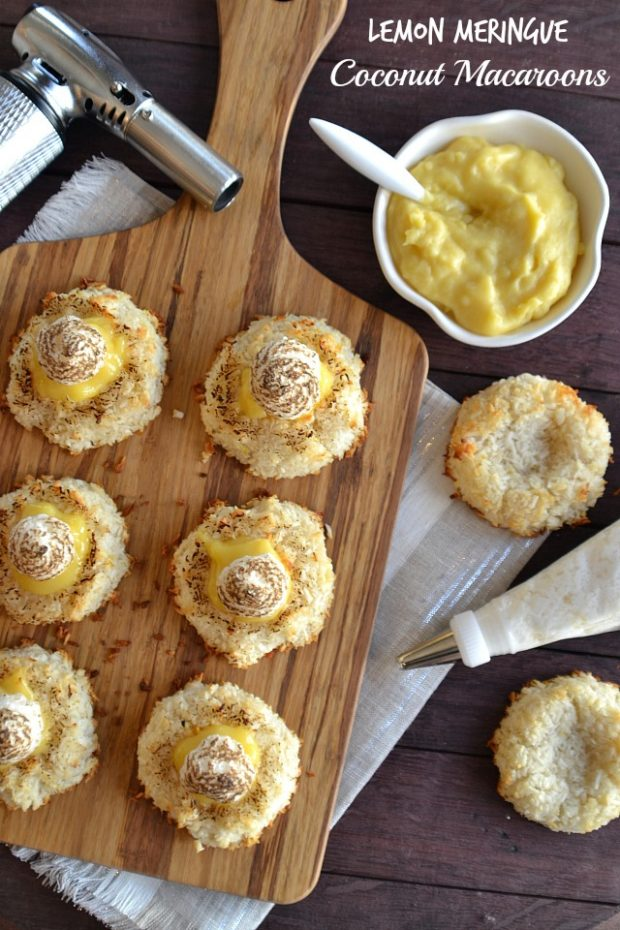 bird's eye view of a vegetarian passover recipe, lemon meringue coconut macarroons