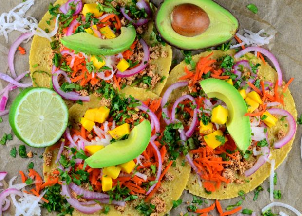 Avocado, mango, chili, lime tofu tacos. fresh, plant based delicious tacos. #vegan, #vegetarian #tacos #5demayo, #avocado, #mango, #dairy free, #kosher