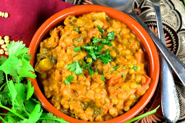 Lentils are bursting with flavor with spices and coconut milk. A must try. #meatlessMonday #lentils #dal #Vegan #vegetarian #glutenFree #recipes #main #entree