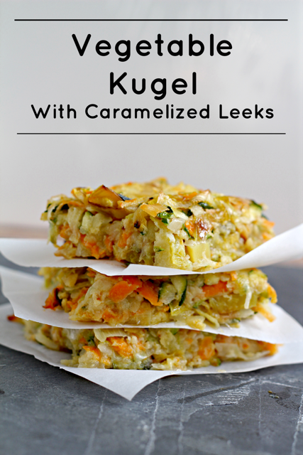 A stack of Kugel with caramelized leeks a vegetarian passover recipe