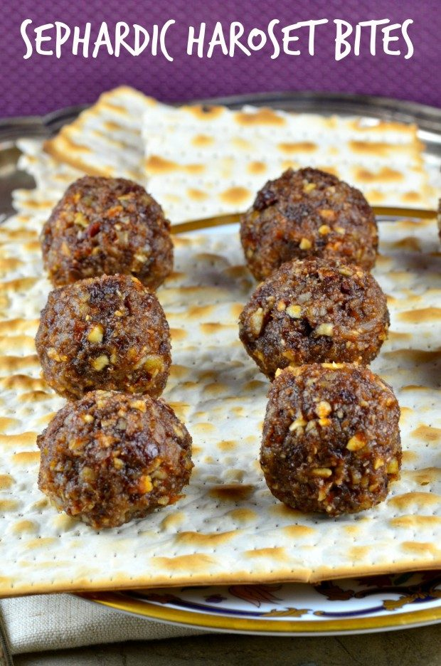 Sephardic Haroset Balls on a bed of matzo. One of our vegetarian Passover recipes.
