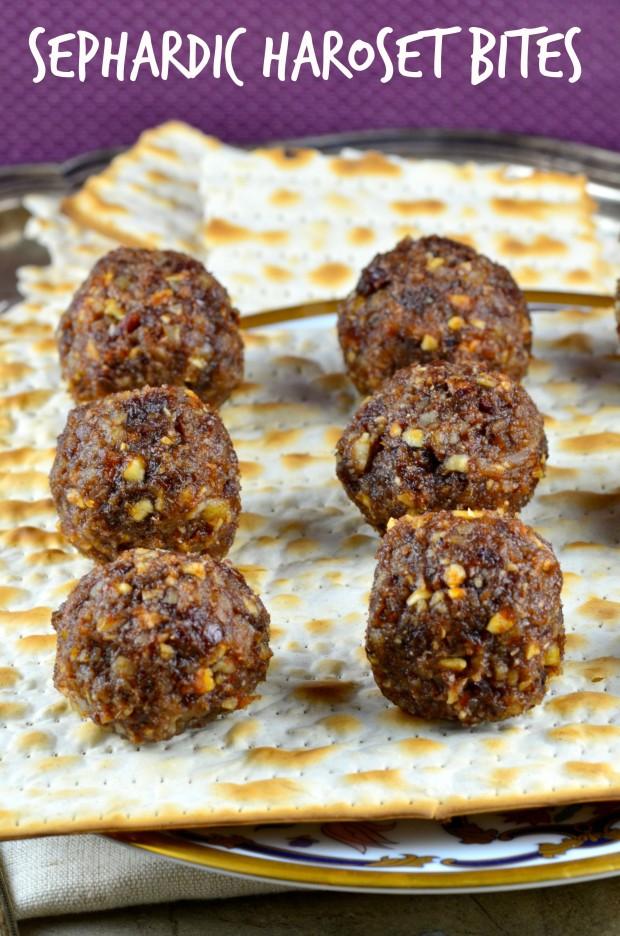 6 Sephardic Charoset Balls on a sheet of Matzo