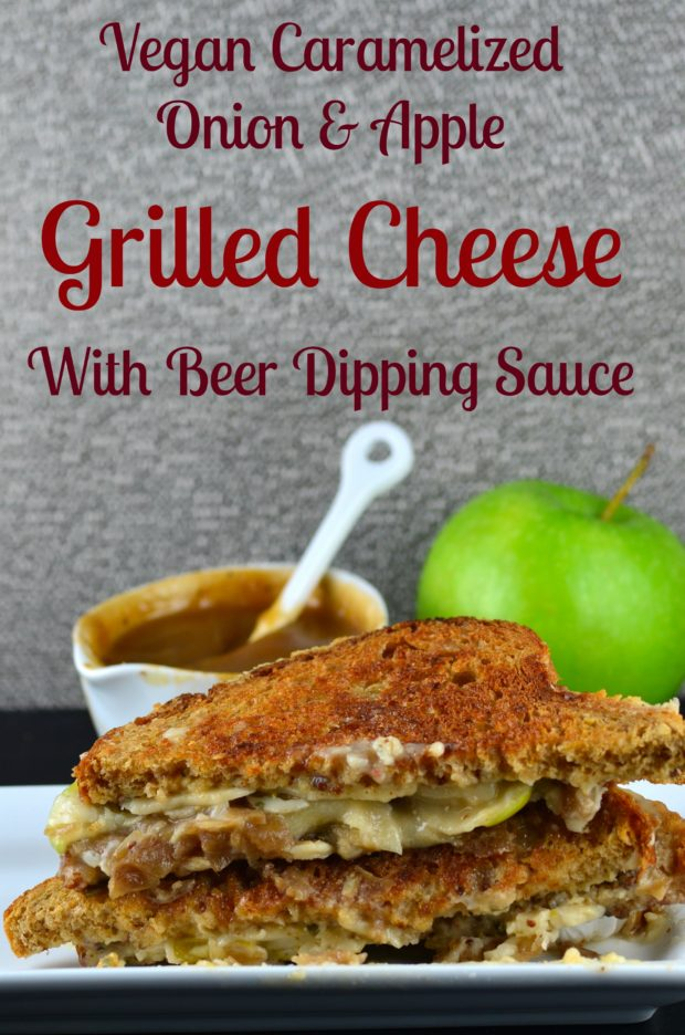Vegan Caramelized Onion & Apple Grilled Cheese With Beer Dipping Sauce