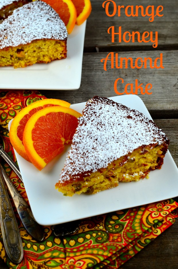 Gluten Free Orange Honey Almond Cake. Sweet, chewy, nutty and easy to make. It is ideal for for orange and almond lovers!