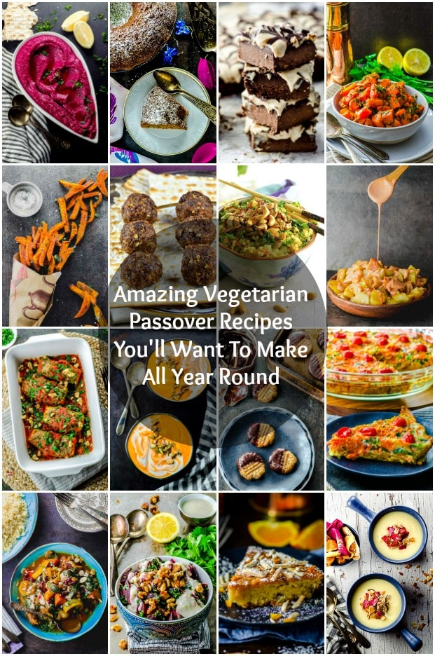A COLLAGE OF VEGETARIAN PASSOVER RECIPE IMAGES
