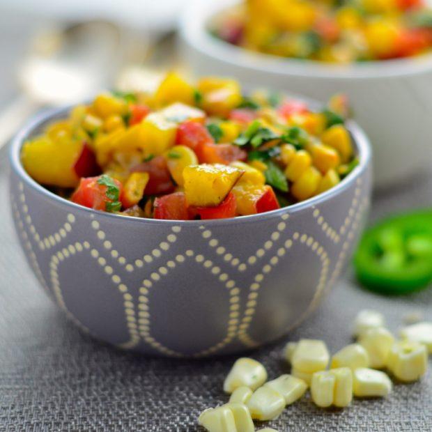 Fresh summer corn salsa #vegan #vegetarian #healthy #kosher #recipe #salsa #corn #summer #memorialDay #4thofJuly
