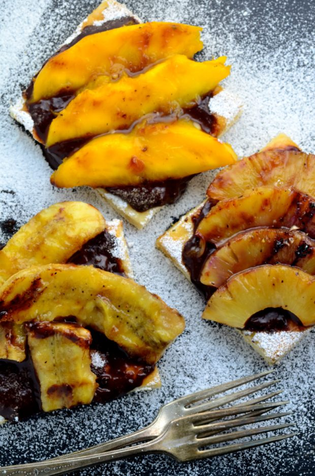 Grilled Fruit Pizza with a secret ingredient in the chocolate sauce!
