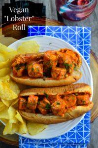 Creative interpretation of a Lobster roll recipe for vegans. Spicy and bursting with flavor. #vegan #lobster #roll #sandwich #vegetarian #kosher