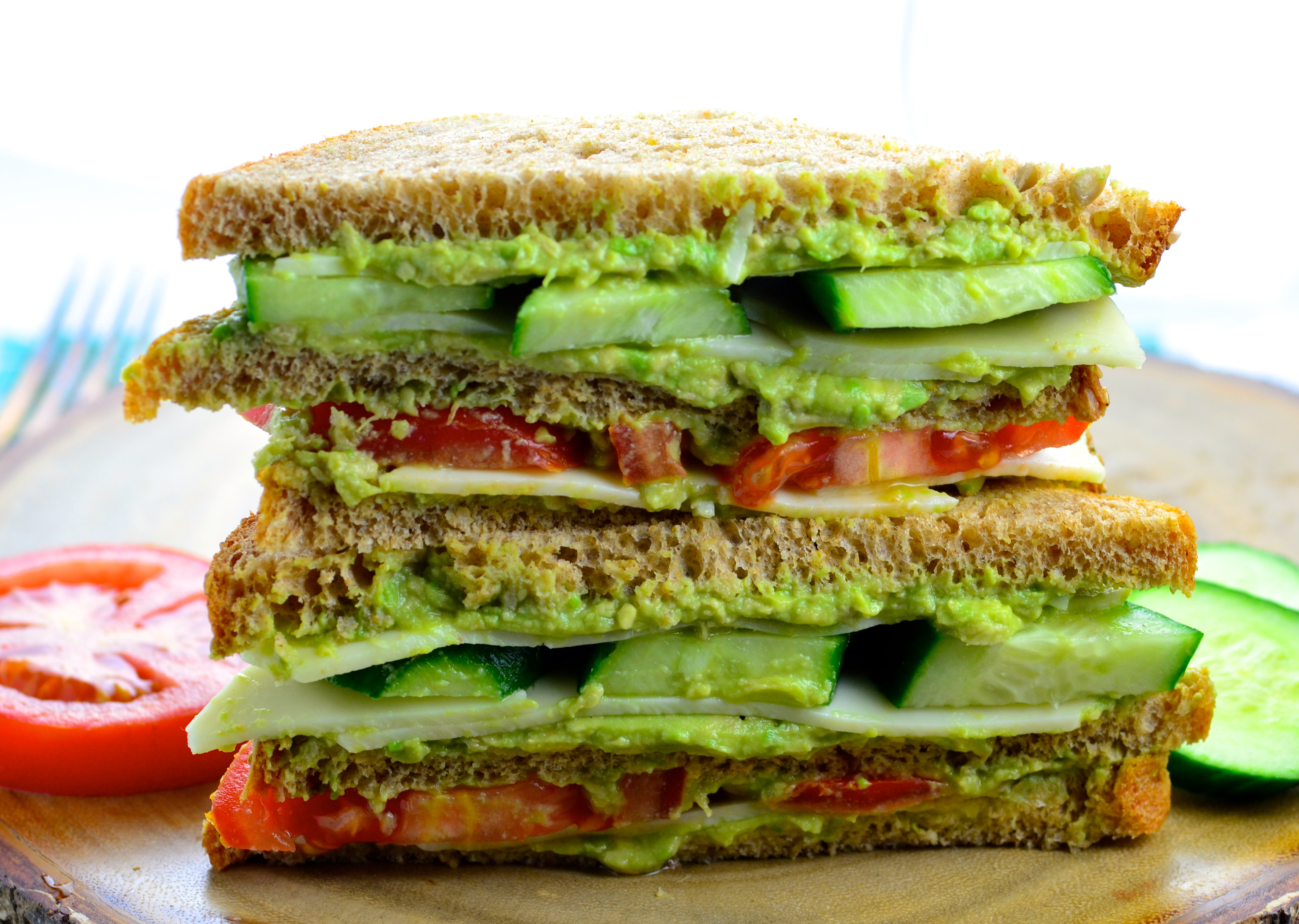 Triple Decker Wasabi Cheese & Avocado Sandwich