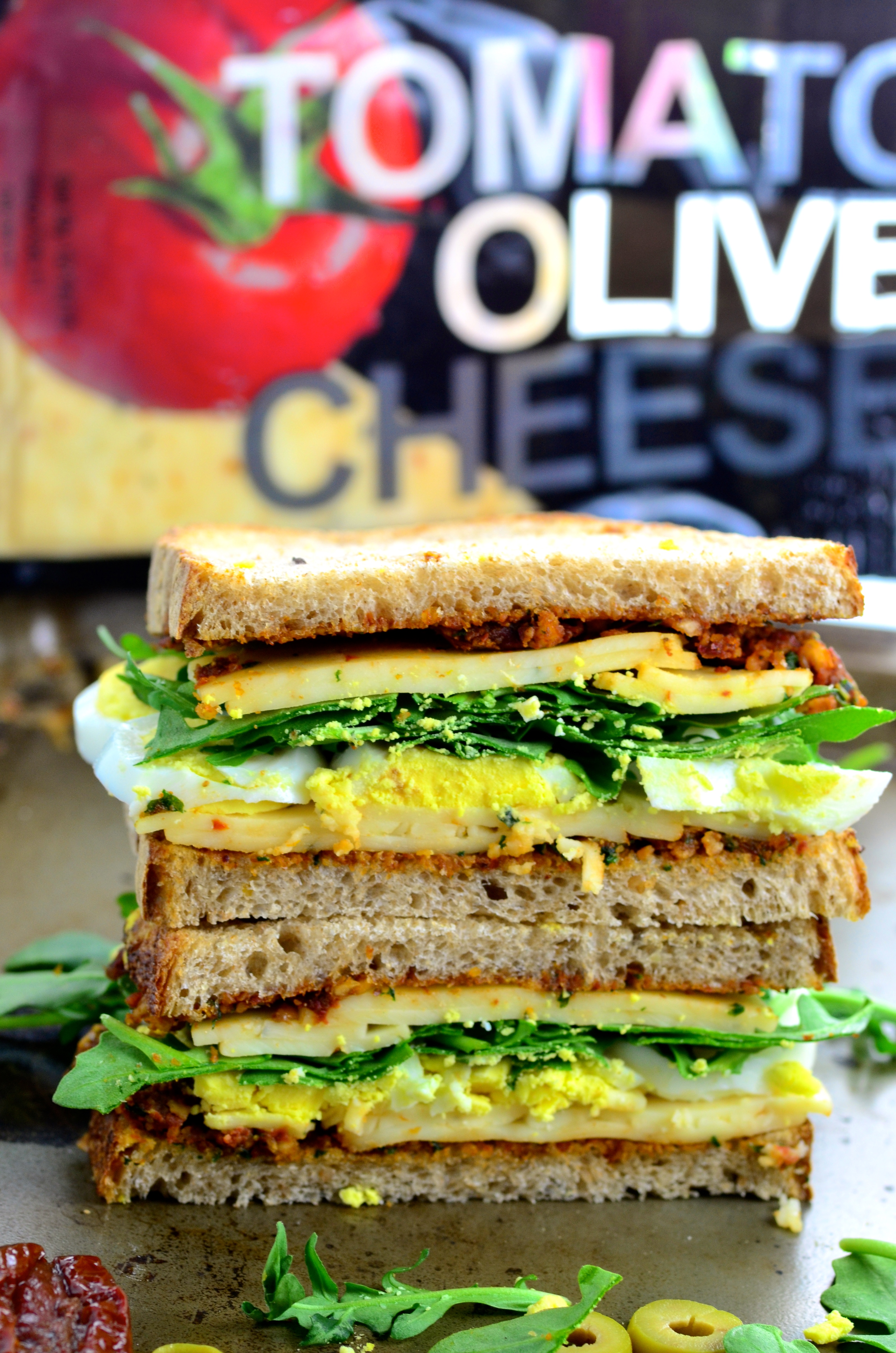 Tomato Olive Cheese Sandwich