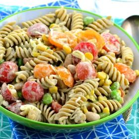 Summery Pasta Salad - No mayo, vegan, Dairy free, 4thofjuly, BBQ,