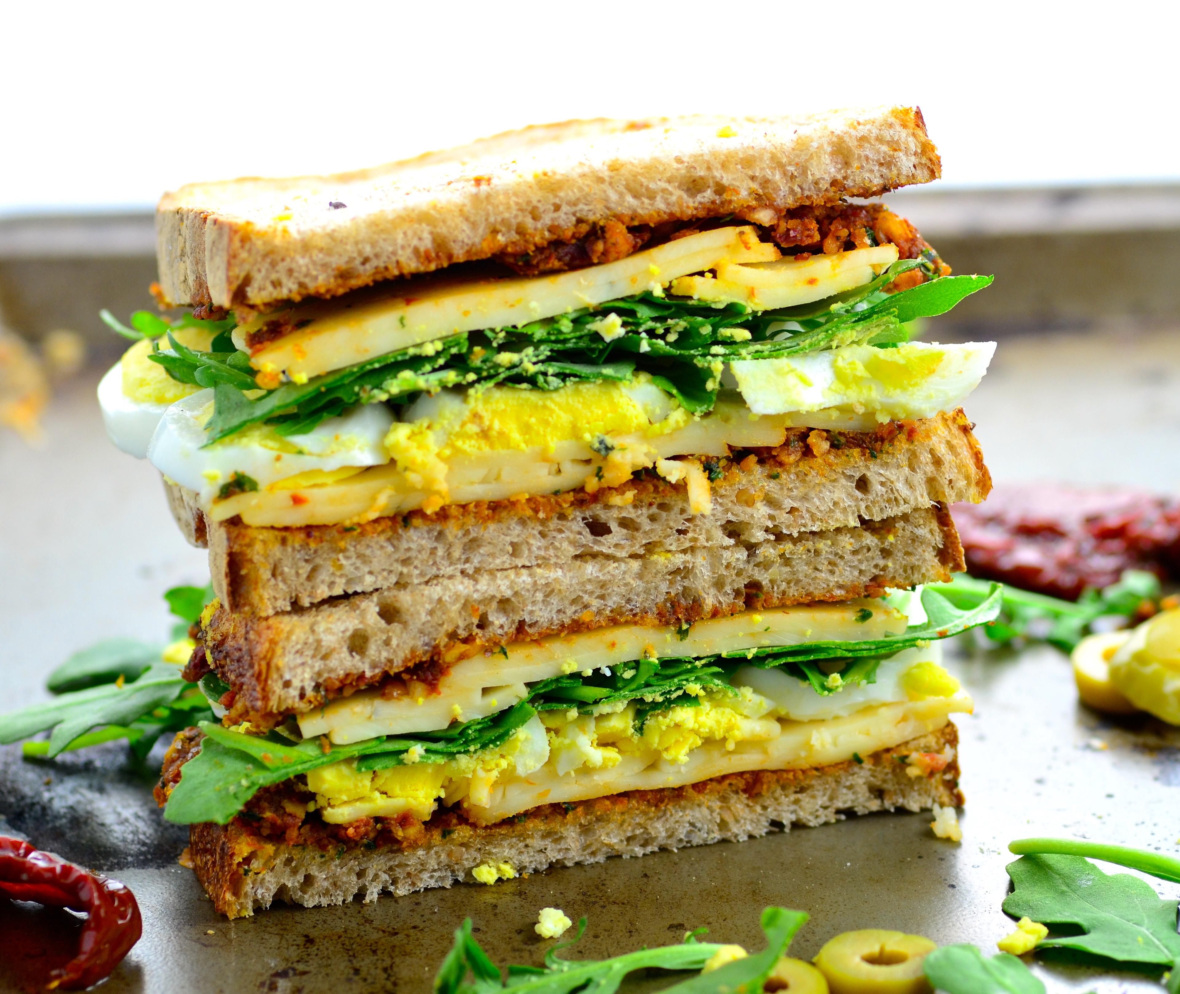 Tomato Olive Cheese Sandwich