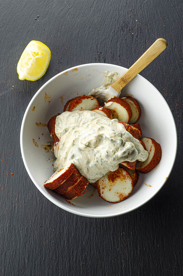 Adding sauce to vegan lobster