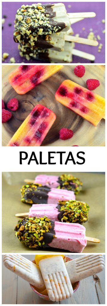 Summer Dessert Paletas (icepops) perfect to celebrate 4th of july - Healthy, vegan , vegetarian Dairy Free.