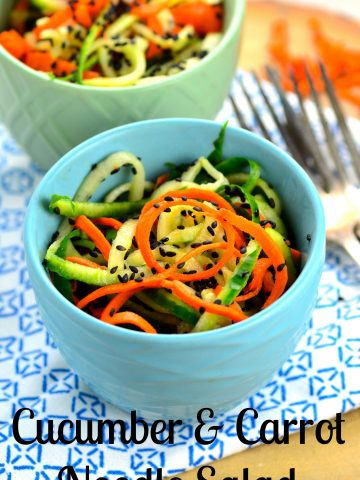 Cucumber & Carrot Noodle Salad - it only takes 5 minutes to make this refreshing and healthy summer salad with tangy rice vinegar and nutty sesame seeds.