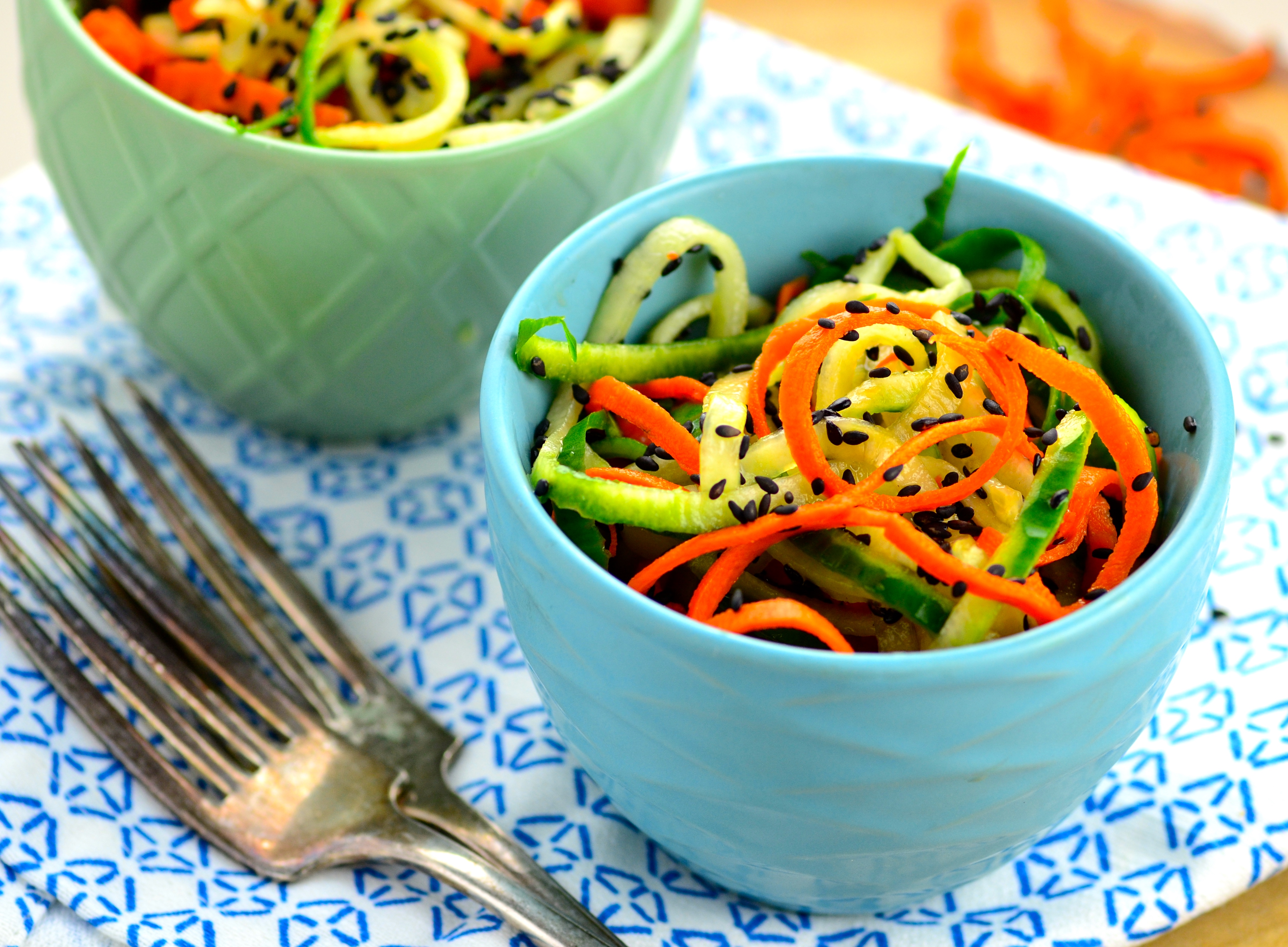 Spiralized Cucumber & Carrot Salad