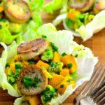 Mango, avocado & vegan scallops lettuce cups - Perfect starter to a healthy meal - #kosher #vegetarian #vegan #mushrooms, #mango #avocado #healthy #lowcal #GlutenFree #appetizer