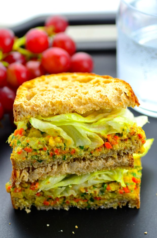 "this vegan, vegetarian no mayo mock ""tuna"" salad made with chickpea..."