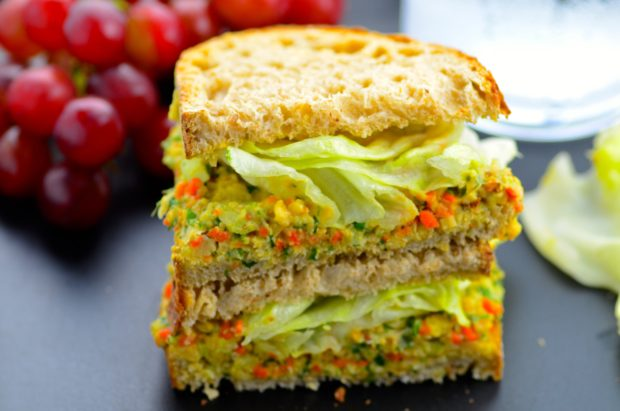 "Vegan Chickpea Salad - Mock Tuna - You will not miss the tuna with this vegan, vegetarian no mayo mock ""tuna"" salad made with chickpeas and veggies #vegetarian #vegan #glutenFree #chickpeas #kosher #sandwich #healthy #recipe #salad"