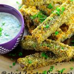 baked zaatar eggplant fries with tahini sauce - Crunchy buttery eggplant flavored with za'atar with a creamy tahini sauce. - #vegan #vegetarian #tahini #zaatar #eggplant #appetizer #guiltFree