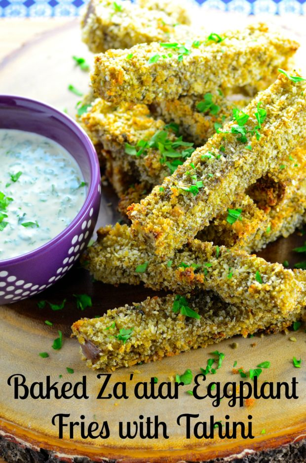 Baked Za'atar Eggplant Fries With Tahini Dipping Sauce