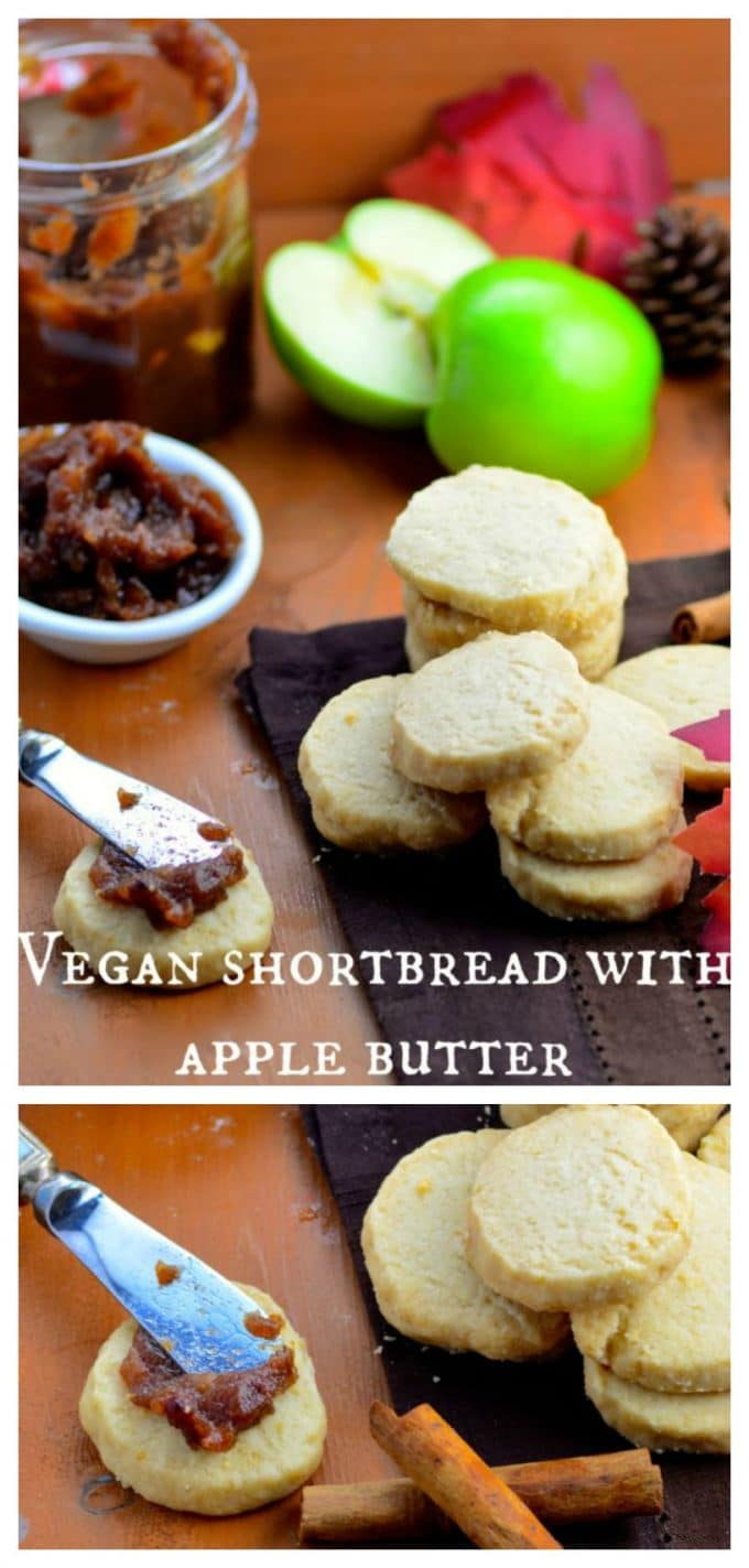 Sweet, cinnamony homemade Apple Butter slathered on a rich, super buttery Vegan Shortbread cookie, for only 100 calories? Yes please!! The perfect treat to welcome fall and the