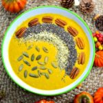 Welcome fall with this warming breakfast recipe. Pumpkin Spice smoothie bowl topped with chia, hemp and pumpkin seeds and some toasted pecan for extra crunch. Energize your morning with this smoothie bowl breakfast.