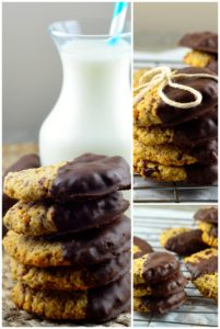 coconut cranberry cookies dipped in chocolate