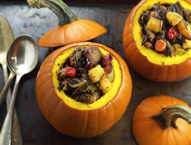 Vegan and Gluten Free Main Thanksgiving dish - Wild Rice and Chorizo Stuffed Baby Pumpkin