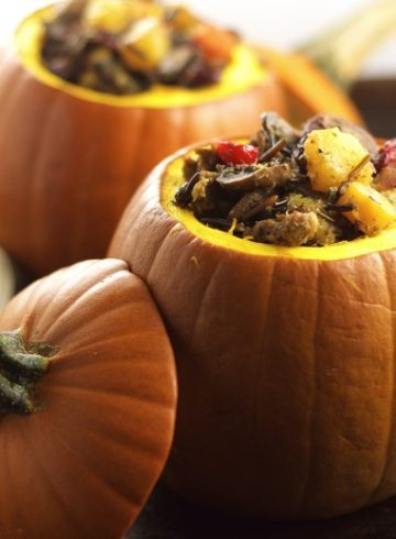 Vegan Wild Rice and Chorizo Stuffed Baby Pumpkin